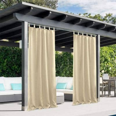 Beige Outdoor Thermal Tie Top Blackout Curtain - 50 in. W x 96 in. L