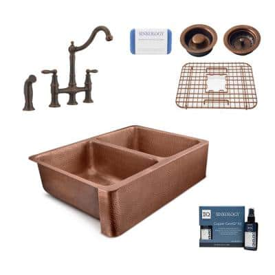 Copley All-in-One Farmhouse Copper Sink 32 in. Double Bowl Kitchen Sink with Pfister Bridge Faucet and Drains