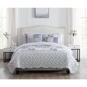 Brenna 3-Piece Lavender King Floral Patchwork Quilt Set