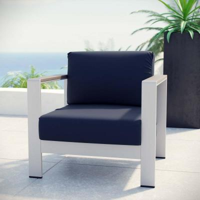 Shore Outdoor Patio Aluminum Lounge Chair in Silver with Navy Cushions