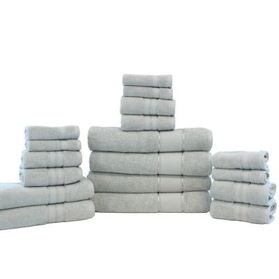 Spunloft 18-Piece Gray Solid Cotton Towel Set