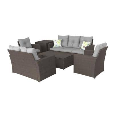 B12 Chocolate Wicker Outdoor Sectional Set with Gray Cushion