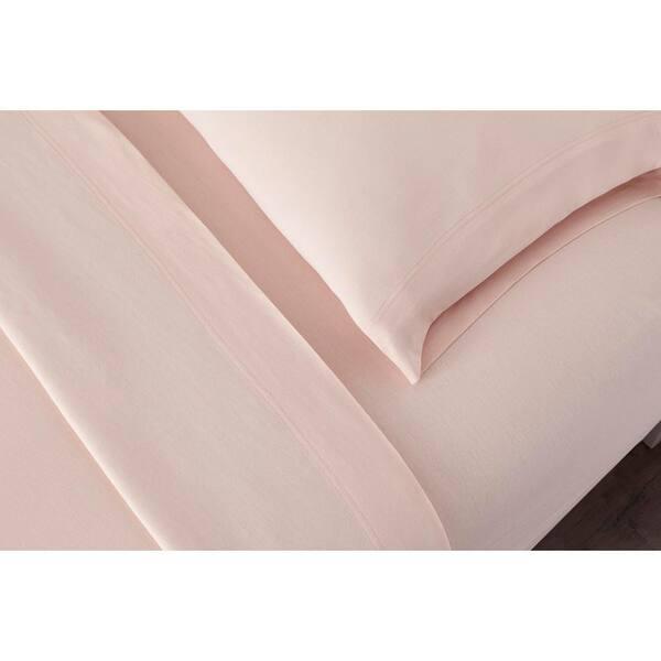 Stylewell Jersey Knit Cotton Blend 4 Piece Queen Sheet Set In Cherry Blossom Cn42qshtsecher The Home Depot