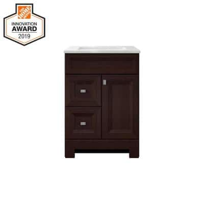 Sedgewood 24-1/2 in. Configurable Bath Vanity in Dark Cognac with Solid Surface Top in Arctic with White Sink