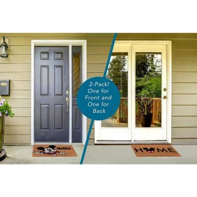 Mickey Mouse Home and Hello 20 in. x 34 in. Coir Door Mat (2-Pack)