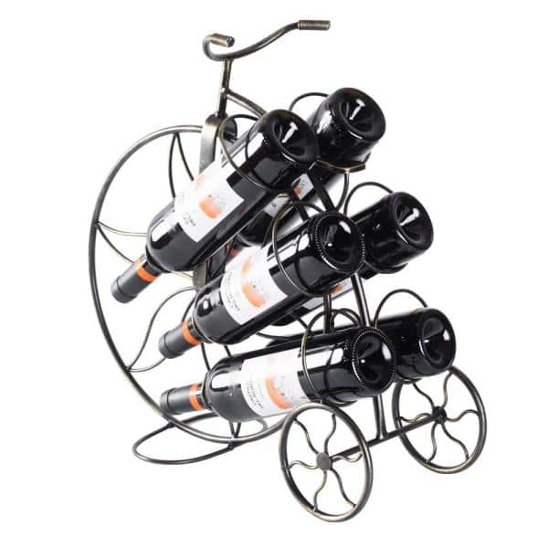 Vintiquewise Vintage Decorative Metal Bicycle 6 Bottle Countertop Tabletop Wine Holder Qi003561 The Home Depot