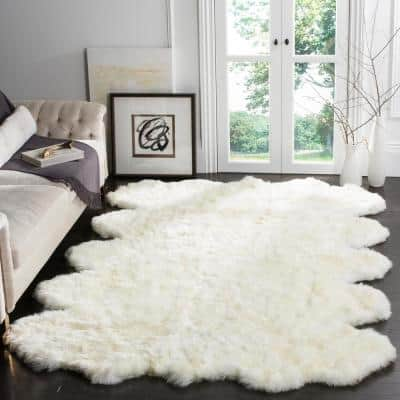 Sheep Skin White 8 ft. x 10 ft. Solid Area Rug