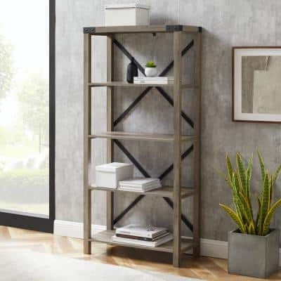 64 in. Gray Wash Wood 4-shelf Etagere Bookcase with Open Back