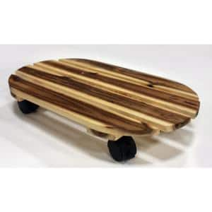 18 in. Acacia Wood Oval Caddy with Rolling Casters and Locks