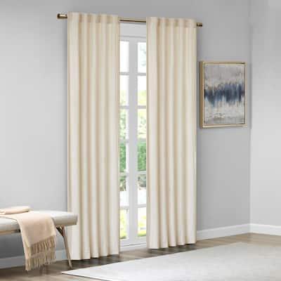 Garett Ivory 37 in. W x 63 in. L 2-Piece Room Darkening Rod Pocket/Back Tab Window Panel Pair