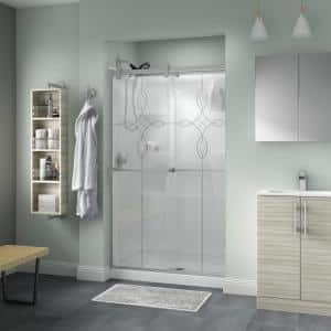 Everly 48 in. x 71 in. Contemporary Semi-Frameless Sliding Shower Door in Nickel and 1/4 in. (6mm) Tranquility Glass
