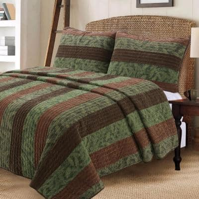 Rich Warm Chocolate Forest Country Wood Leaves 3-Piece Dark Brown Green Stripe Cotton King Quilt Bedding Set