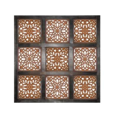 Brown Decorative Mango Wood Wall Panel with Cut-Out Flower Pattern
