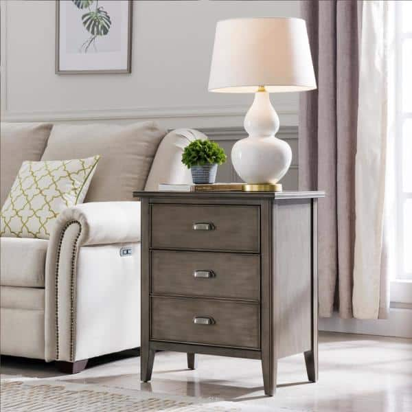 Leick Home Laurent Collection Hardwood Bedroom Night Stand With Top Drawer Door And 2 Plug Electrical Outlet 10522 Gr The Home Depot