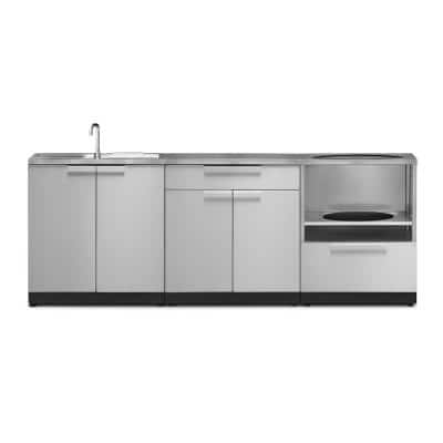 Stainless Steel 4-Piece 92 in. W x 36.5 in. H x 24 in. D Outdoor Kitchen Cabinet Set with Countertops