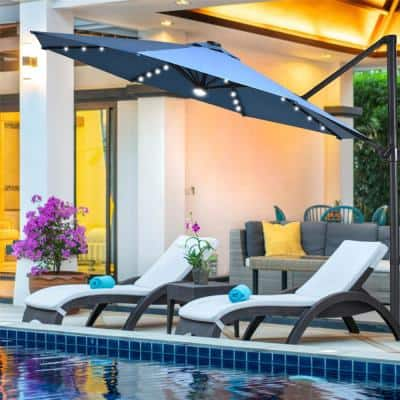 10 ft. Aluminum Cantilever Solar LED Offset Patio Umbrella in Blue with 360° Rotation