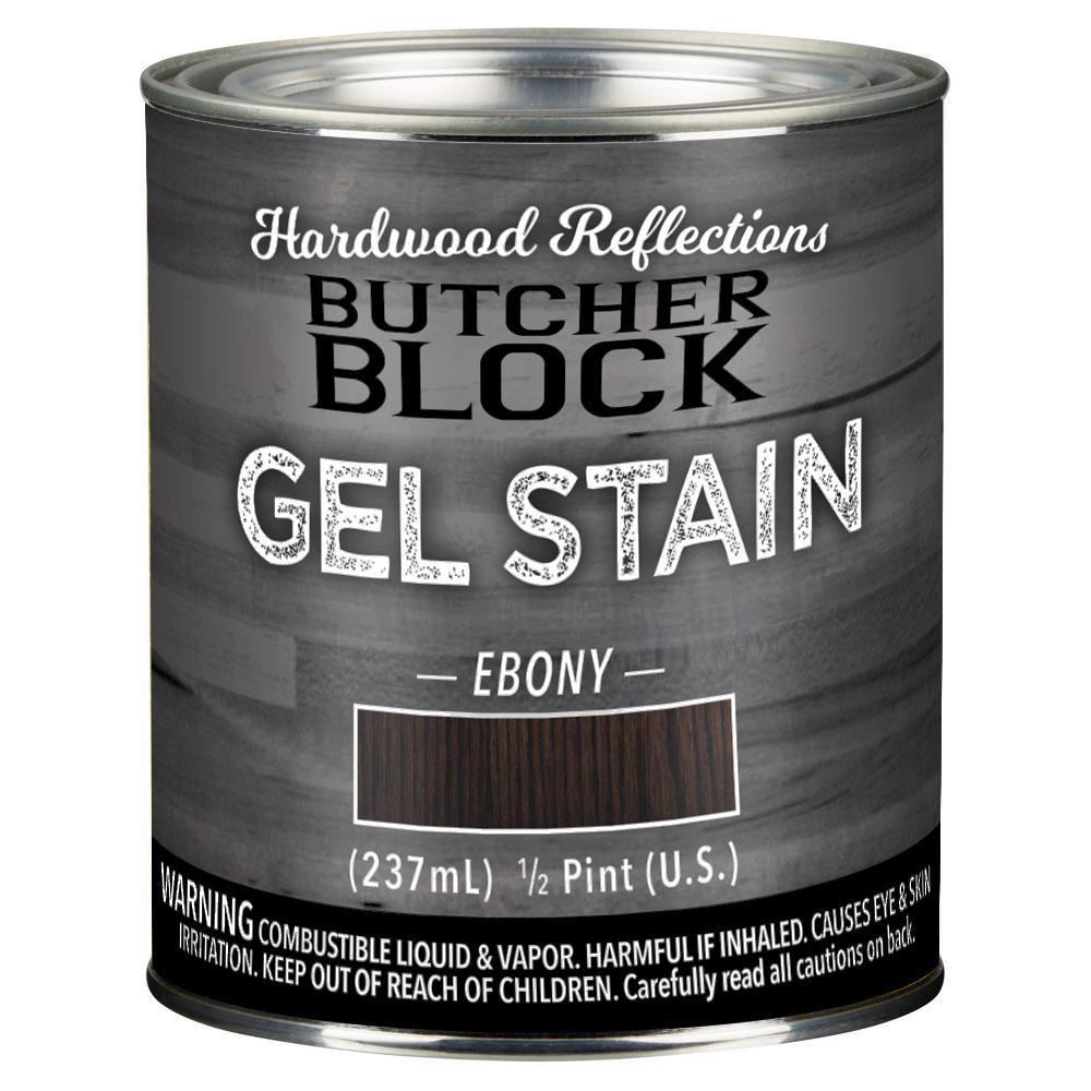 1/2 pt. Ebony Oil-Based Satin Interior Butcher Block Wood Gel Stain