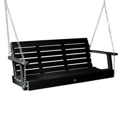 Weatherly 60 in. 2-Person Black Recycled Plastic Porch Swing