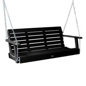 Weatherly 48 in. 2-Person Black Recycled Plastic Porch Swing
