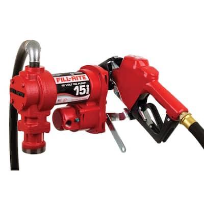 12-Volt 15 GPM 1/4 HP Fuel Transfer Pump (Auto Nozzle Package)