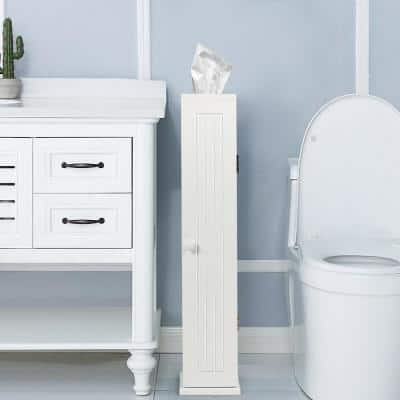 6.5 in. W Bathroom Storage Floor Linen Cabinet with 4-Shelves in White