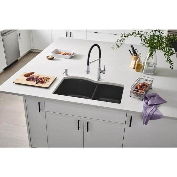 Blanco Diamond Undermount Granite Composite 32 In 60 40 Double Bowl Kitchen Sink Anthracite 440179 The Home Depot