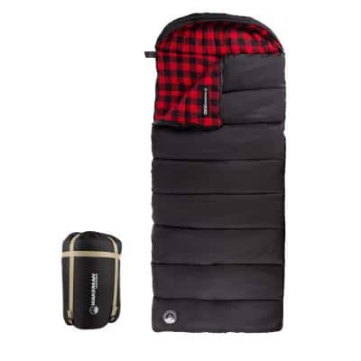 XL 3-Season Envelope Style Sleeping Bag with Carrying Bag and Compression Straps in Red/Black