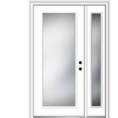 53 in. x 81.75 in. Micro Granite Left-Hand Inswing Full Lite Decorative Primed Steel Prehung Front Door w/ One Sidelite