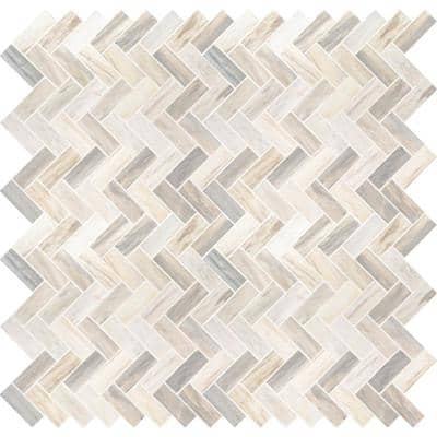 Angora Herringbone 12 in. x 12 in. x 10 mm Polished Marble Mesh-Mounted Mosaic Tile (1 sq. ft.)
