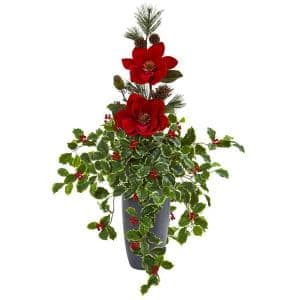 3.5 ft. Magnolia Pine and Variegated Holly Leaf Artificial Arrangement