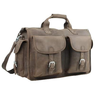 18.5 in. Full Grain Leather Laptop Bag Overnight Travel Duffel Bag