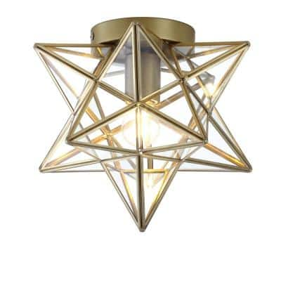 Stella 12 in. Moravian Star Metal/Clear Glass LED Flush Mount, Gold/Clear