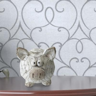 White and Brown Decorative Polyresin Pig Figurine with Textured Details