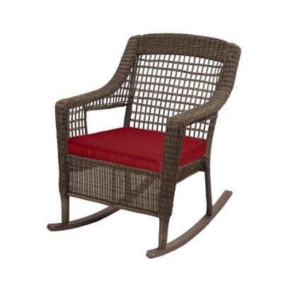 Spring Haven Brown Wicker Outdoor Patio Rocking Chair with Standard Chili Red Cushions