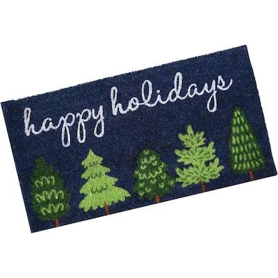 "17"" x 30"" PVC-Printed Coir Holiday Entrance Mat - Green Trees"
