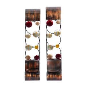 Brown Metal Traditional Candle Wall Sconce (Set of 2)