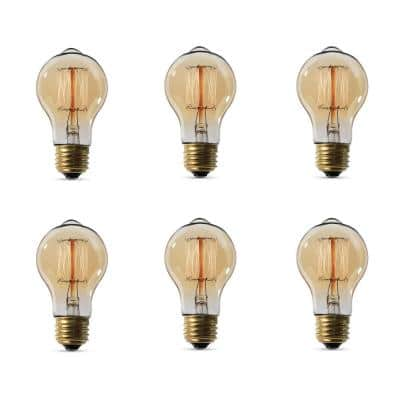 60-Watt AT19 Dimmable Incandescent Amber Glass Vintage Edison Light Bulb with Cage Filament Soft White (6-Pack)