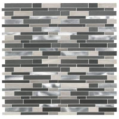 Urban Loft Interlocking 12 in. x 12 in. x 4 mm Glass/Stone/Metal Mesh-Mounted Mosaic Tile (1 sq. ft.)
