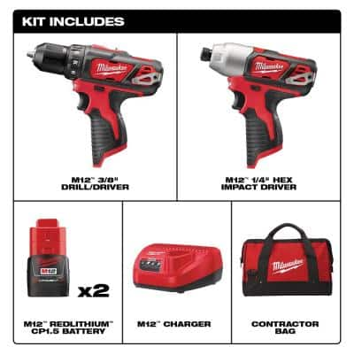 M12 12-Volt Lithium-Ion Cordless Drill Driver/Impact Driver Combo Kit (2-Tool) with SHOCKWAVE Driver Bit Set (45-Piece)