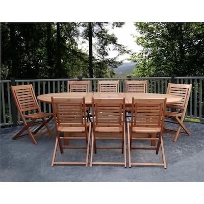 Milano Grand 9-Piece Extendable FSC Eucalyptus Wood Patio Dining Set