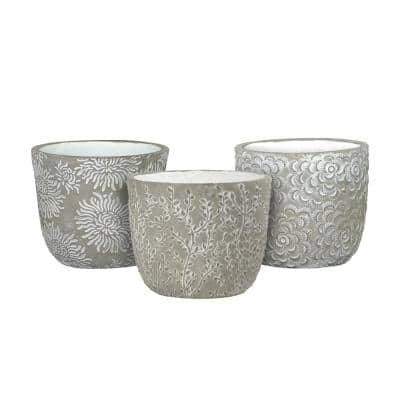 Flora 6 in. Gray Cement Planters with White Interior Assorted (Set of 3)