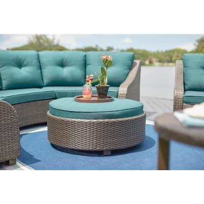 Torquay Wicker Outdoor Ottoman with Charleston Cushion