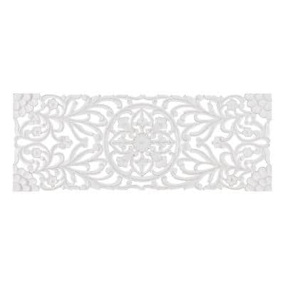 Malito 18 in. x 48 in. White Medallion Wooden Wall Art Sculptures