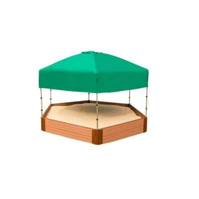 7 ft. x 8 ft. x 11 in. Hexagon Sandbox Composite with Telescoping Canopy/Cover (2 in. Profile)