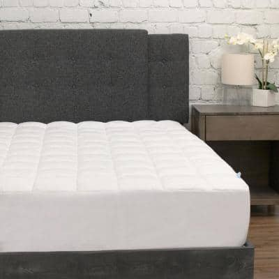 White California King Pillow Top Microfiber Mattress Pad