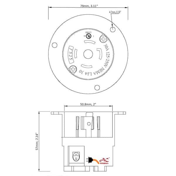 Ac Works 30 Amp Locking 4 G 125 250, Nema L14 30p Wiring Diagram