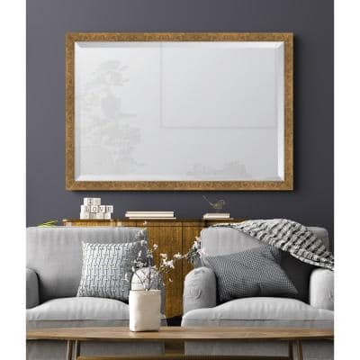 Medium Rectangle Gold Beveled Glass Contemporary Mirror (39 in. H x 27 in. W)