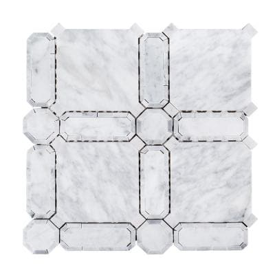 Windsor White 11.625 in. x 11.625 in. Basketweave Marble Wall and Floor Mosaic Tile (0.938 sq. ft./Each)
