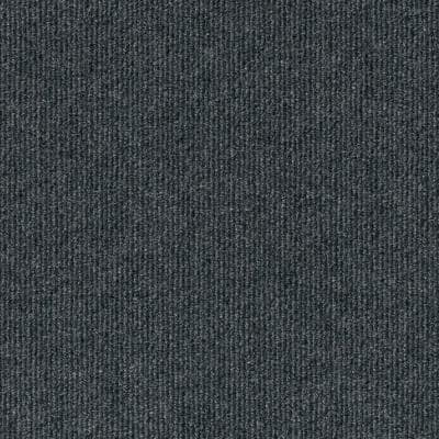 Peel and Stick Ribbed Gunmetal 18 in. x 18 in. Residential Carpet Tile (16 Tiles/Case)