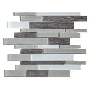 Forest Folly Gray 11.625 in. x 11.5 in. Interlocking Glass Mosaic Tile (0.928 sq. ft./Each)